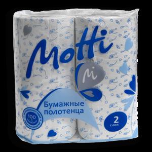 Полотенца в рулонах MOTTI 2-сл, 17м, белые, 2 рул/уп