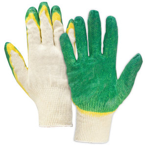 Перчатки хлопчатобумажные, износостойкие двойной латексный облив, 13 класс LAIMA ЛЮКС