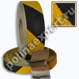 Алюминиевая абразивная противоскользящая лента Желто-Черная сигнальная КРУПНАЯ зернистость