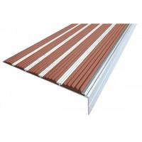 Алюминиевый профиль угловой против скольжения с 5 резиновыми вставками (ступень 160 мм)