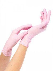 Перчатки нитриловые NitriMax (розовые, размер M)