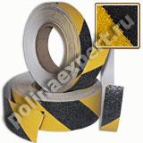 Абразивная противоскользящая лента Черно-Желтая сигнальная-КРУПНАЯ зернистость