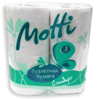 Туалетная бумага в рулонах MOTTI 2-слоя, 17 м,4 рулона в уп.белая